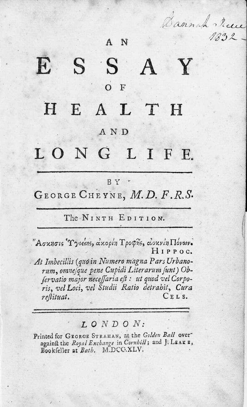 cheyne an essay of health and long life  wellcome collection