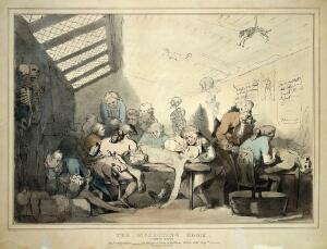 view Three anatomical dissections taking place in an attic. Coloured lithograph by T. C. Wilson after a pen and wash drawing by T. Rowlandson.