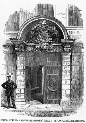 view Hall of the Barber-Surgeons' Company, Monkwell St., London: entrance.
