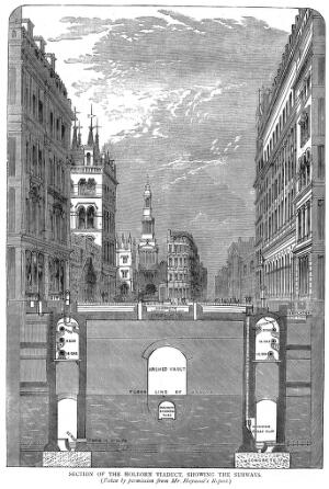 view Section of the Holborn Viaduct, showing the subways (taken by permission from Mr. Haywood's Report)'