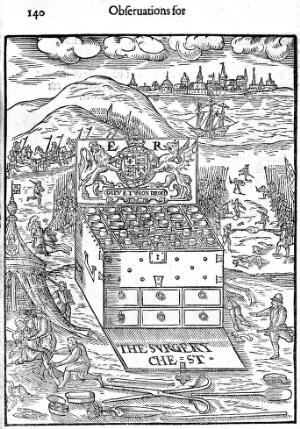 view An Elizabethan medicine-chest for military surgery.