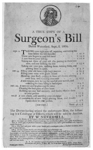 view James Gillray, satirical broadside: Surgeons' Bill