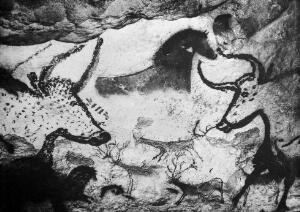 view Cervids painted on cave wall and Caervids, bovids and horses