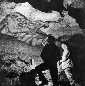 view Abbe Breuil in Lascaux caves at La Mouthe