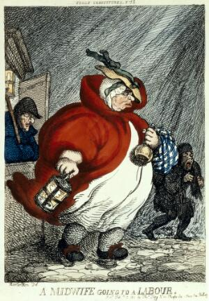 view An obese midwife on her way to a labour in the early hours of the morning.