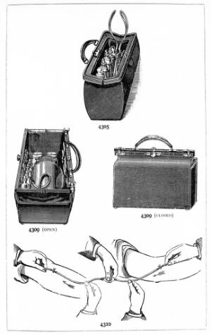 view Midwifery bags, used 1900, from Krohne & Sesemann catalogue