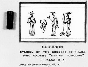 view Scorpion symbol of goddess Ishkhara, circa 2400BC