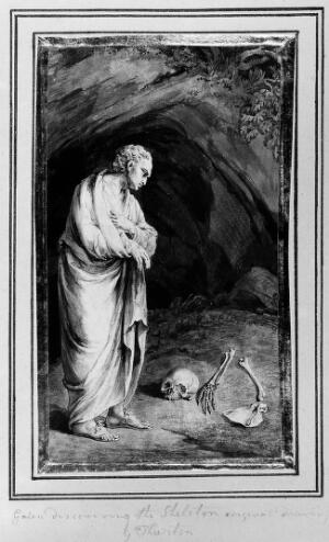 view Galen discovering the remains of a human skeleton. Drawing by John Thurston.