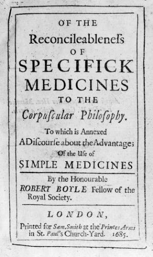 """view """"Of the Reconcileableness of Specific Medicines..."""""""