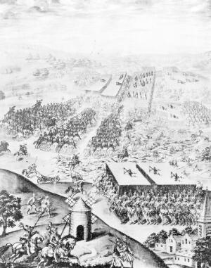 view Battle before St Quentin, 1557. From the fresco by Granello and Castello Hall of Battles, the Escorial, Madrid.