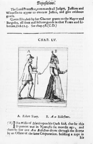 view Woman wearing a Scold's Bridle.