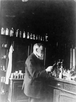 view Paul Ehrlich (1854-1915) at work in his laboratory