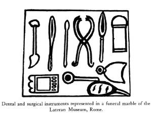 view Dental and surgical instruments on a funeral marble.