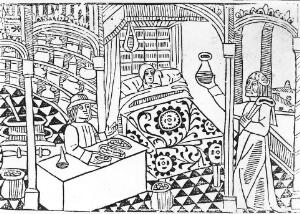 view Apothecary, patient and physician, 14th century.