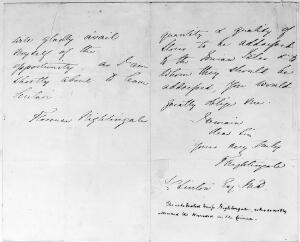 view Two letters from Florence Nigthingale; July 1856