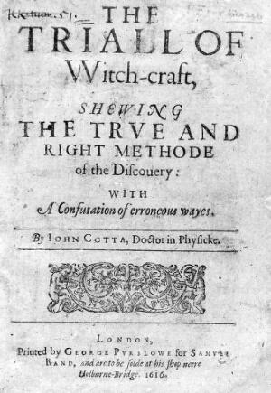 view John Cotta: The Triall of Witch-craft, title page.