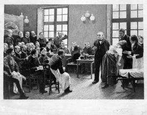 view Jean-Martin Charcot demonstrating hysteria in a patient at the Salpetriere. Lithograph after P.A.A. Brouillet, 1887.