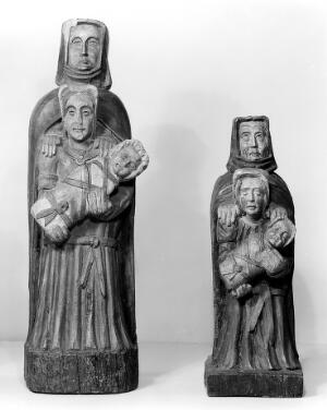 view Saint Anne, The Mother of Mary, the Mother of Christ. All three are represented. Invoked by women wishing for children. This form of representation appears to be peculiar to Brittany.
