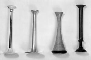 view 4 Stethoscope. A- telescopic, see Maw 1882. B- made of aluminium, like Hughe's but no record of material. C- unusual design, said to be 1845-1855. D- Italian, but like Williams.