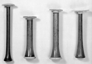 view Stethoscopes. A- perhaps Stoke's type with ivory ear plate. B, C, D, -probably all English versions of the Piorry stethoscope dating from 1830s to 1840s.