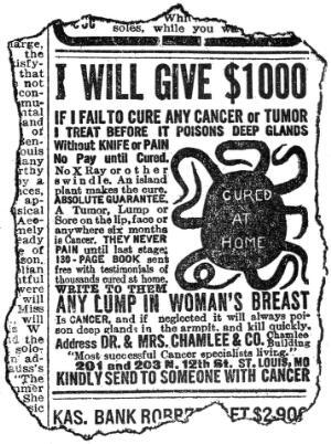 view Quack advert for the cure of cancer