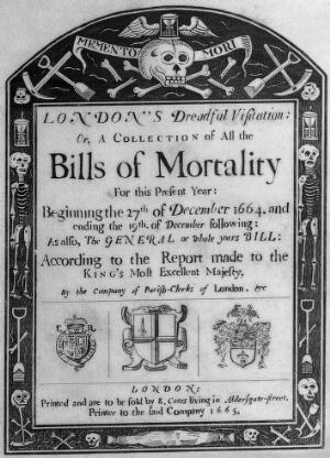 view Title page to a statistical analysis of mortality during the plague epidemic in London of 1665. Etching, 18--.