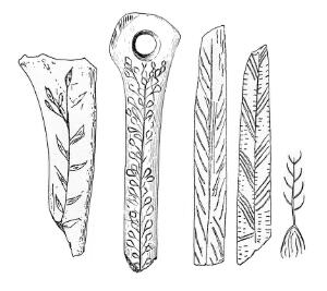 view Bones showing carved representations of plants used as food
