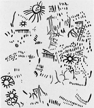 view Neolithic representation of solar symbols, Spain.