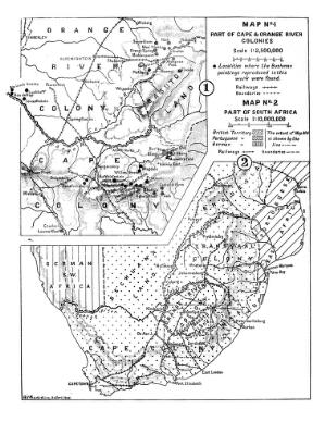 view Map of South Africa, showing sites of Bushman drawings.