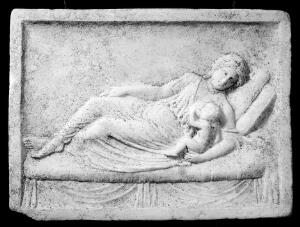 view Plaque in tomb relief showing mother and child, Ostia, 50 A.D