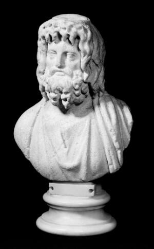 view Bust of Jupiter Serapis. Ancient copy of a well known ancient bust of Serapis.