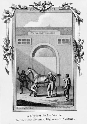 view Satirical veterinary frontispiece, 1771