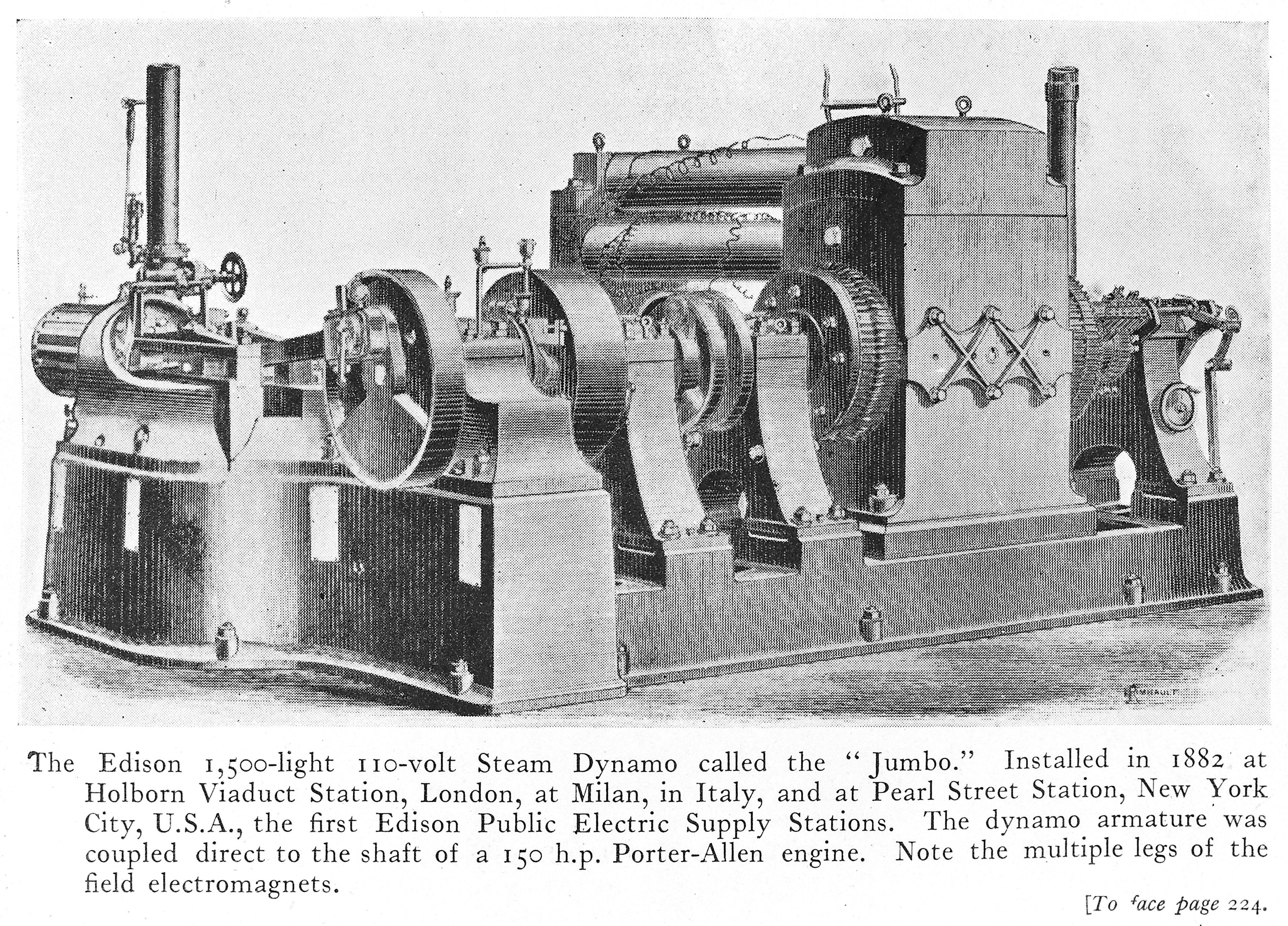 The Edison 1,500 light 110 volt steam dynamo called the