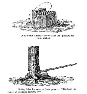 view Showing a device used by American Indians for holding stones