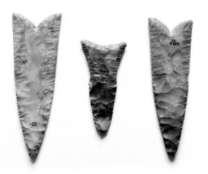 view Egyptian flint knives, finely worked.