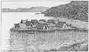 view Swiss prehistoric lake dwellings. as pictorially restored by A. de Mortillet.