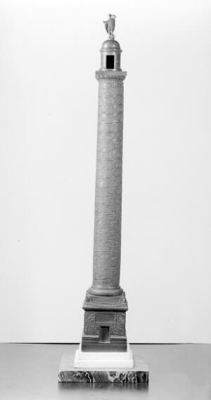 view Trajan's column; a miniature reproduction in bronze.