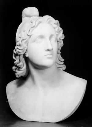 view Bust in white marble of Mithras.