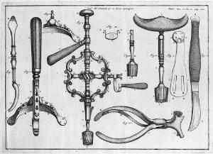 """view Instruments for trephination from Bertrandi's """"Opere"""", 1786"""