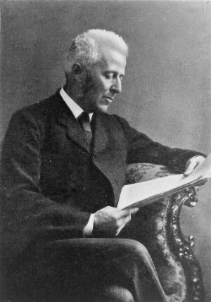 view Portrait of Joseph Bell, M.D., F.R.C.S., J.P.D.L. (1837-1911). Half-length seated portrait, with Bell reading papers, facing the right.