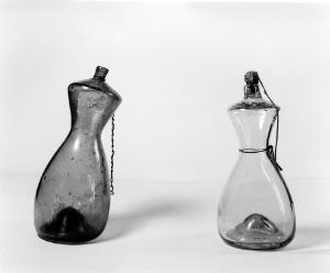 view Dutch feeding bottles for use after weaning. 17thCentury.One with cork.