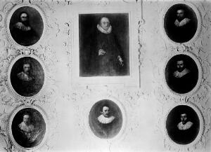 view Portraits of Thomas Harvey and his 7 sons. The group of portraits set in plaster as they appeared at Rolls Park Essex. From an old photograph in the Library of the Royal College of Physicians.