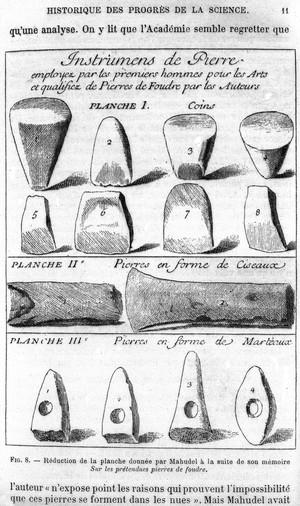 view Plate from Mahudel, Sur les pretendues pierres de foudre.