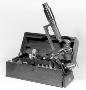 view A chest microscope signed 'Dollond, London', circa 1800.