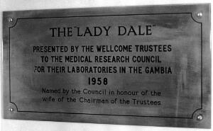 view Wellcome material: The Lady Dale, plaque
