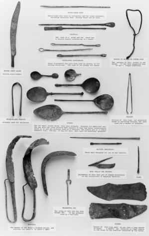 view Series of Graeco-Roman surgical and toilet instruments found at Thebes. In the Wellcome Historical Medical Museum. Ex-hamonic Collection