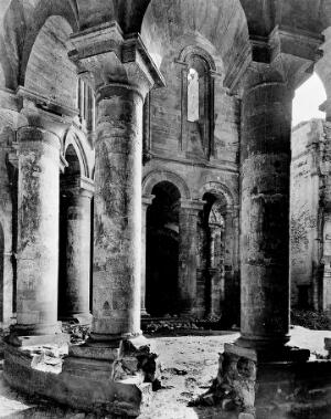 view Pillars of the Apse, Abbey of Moveruela, Spain.