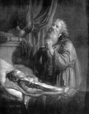 view Elias healing the son of the widow, engraving.