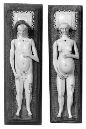 view Anatomical figures in ivory; 1 male, 1 female