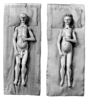 view Anatomical figures in ivory; 1 male and 1 female